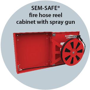 SEM-SAFE fire hose reel cabinet with spray gun